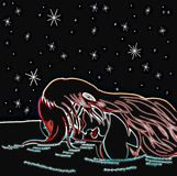 Sad woman crying on a starry night. When a love finishes, we cant stop our heart crying. Those tears become a sea in which we stand for a long long time Stock Photo