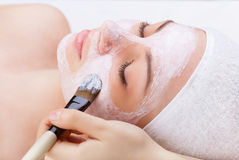 Woman's face. Applying facial mask at woman face on a white background Stock Image