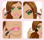 Woman's face and applying makeup stock illustration