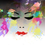 Woman's face. Background with  face water color Stock Image