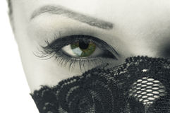 The woman's face with beautiful green eye Stock Photography