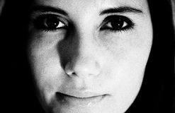 Woman's face; black and white stock image