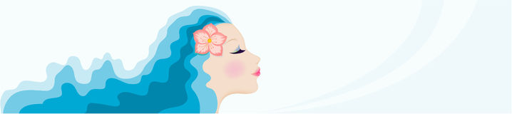 Woman's face with blue hair. Vector illustration Stock Image