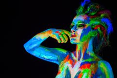 Woman's face with bodyart Stock Images