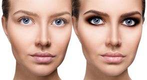 Free Woman`s Face Close-up Before And After Bright Makeup. Stock Image - 112455181