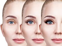 Free Woman`s Face Close-up Before And After Bright Makeup. Stock Images - 113028494