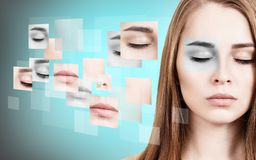 Woman`s face collected from different parts. Stock Image