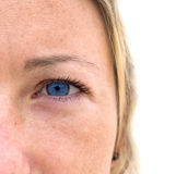 Woman's face with colorful blue eyes. Isolated on white background Royalty Free Stock Photos