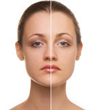 Woman's face correction Royalty Free Stock Photos