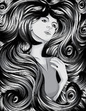 Woman's face with detailed hair Royalty Free Stock Photo