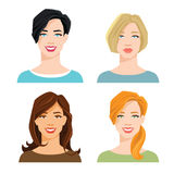 Woman`s face with different hair style. Vector illustration of woman`s face with different hair style on white background Stock Photography