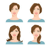 Woman`s face with different hair style. Vector illustration of young woman`s face with different hair style on white background Royalty Free Stock Photos
