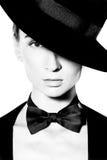 Woman's face with fashion makeup stock photos