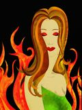 Woman's face and fire. Background with woman's face and fire Stock Photos