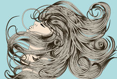 Woman's face flipping detailed hair. Woman's face flipping detailed hand drawn hair Royalty Free Stock Photography