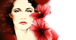 Woman's face with Flowers. Illustration of beautiful woman's face set off with digital photograph of soft red flowers Stock Photo