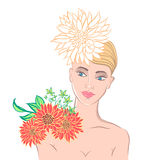 The woman's face and flowers. Vector summer illustration. Stock Photo