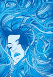 Woman's face with flowing blue hair. Woman's face with long detailed flowing blue hair stock illustration
