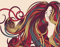 Woman's face with long curly hair. Woman's face with long colorful curly hair Royalty Free Stock Images