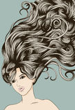 Woman's face with long detailed flowing hair Stock Photos