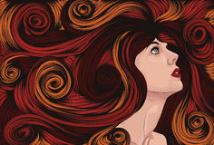 Woman's face with long detailed hair Royalty Free Stock Image