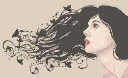 Woman's face with long flowing hair royalty free illustration