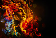 Woman's face made with fire. Illustration of woman's face made with fire Royalty Free Stock Photo