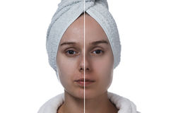 Woman's face before and after makeup horizontal Stock Image