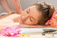 Woman`s face out of focus, a massage Stock Image
