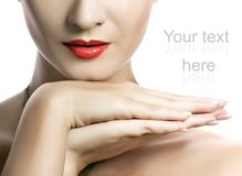 Woman's face with red lips royalty free stock photography