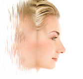 Woman's face in rendered water Stock Photography