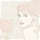 Woman's face and rose, background Royalty Free Stock Photography