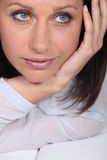 Woman's face saddened Royalty Free Stock Images