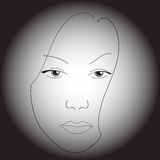 Woman's face. A simple sketch, made by black brush and gradient tool royalty free illustration
