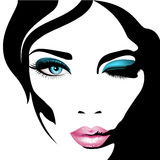 Woman`s face. Vector illustration. Realistic pink lips ann blue eyes with chic eyelashes. For your design stock illustration