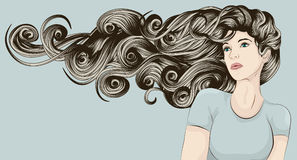 Woman's face with very long detailed hair. Beautiful woman with long curly hair blowing in the wind Stock Photos