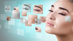 Woman`s face with vitiligo collected from different parts. Stock Photo
