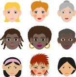 Woman's faces Stock Images