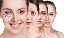 Woman`s faces with lifting arrows. Over white background. Plastic surgery concept stock images