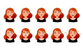 Woman s facial expressions. Cute girl with various emotions vector flat illustration. Ten emotional faces for stickers. In cartoon character design isolated on vector illustration