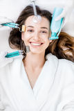 Woman`s facial treatment Royalty Free Stock Images