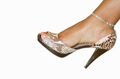 Woman's fancy dress shoe. A closeup studio view of a woman's fancy high heeled dress shoe, worn by an African American woman Royalty Free Stock Photography