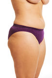 Woman's fat belly in underwear Stock Photo