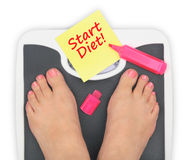 Woman' s feet on bathroom scale Royalty Free Stock Photos