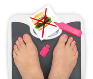 Woman' s feet on bathroom scale Stock Image