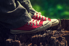 Woman`s feet in bright red canvas sneakers royalty free stock image