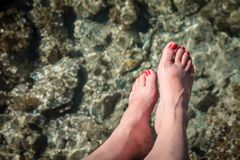 Free Woman`s Feet Over Water Royalty Free Stock Photo - 112315195