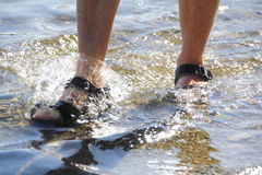 Woman's Feet in Shallow Water. Close on woman's feet with sandals walking through shallow water Royalty Free Stock Photography