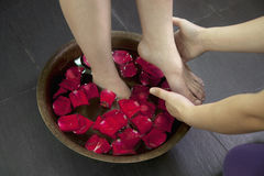 Woman's Feet Soaking in Water with Rose Petals Stock Images