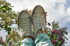 Woman's feet in white sneakers against the lilac blossom and blue sky Stock Image